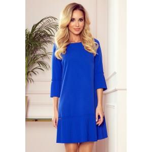 Spoločenské modré dámske šaty s plisovanými volánmi