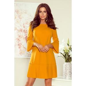 Žlté dámske spoločenské šaty voľného strihu