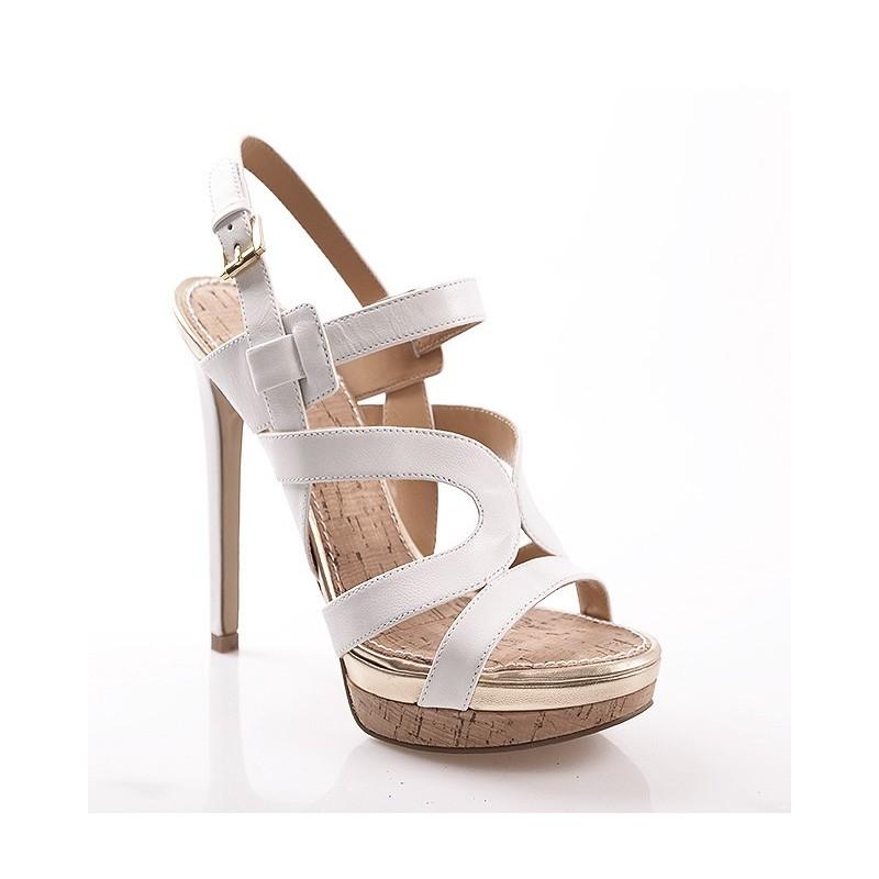 1057e5f1c7cb Predchádzajúci. Kožené biele dámske sandále s opätkom ...