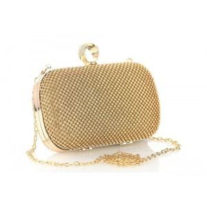 Večerná dámska zlatá kabelka so zirkónmi