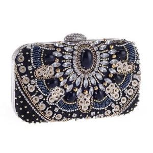 Krásna modro čierna listová kabelka s ozdobnými kryštáľmi