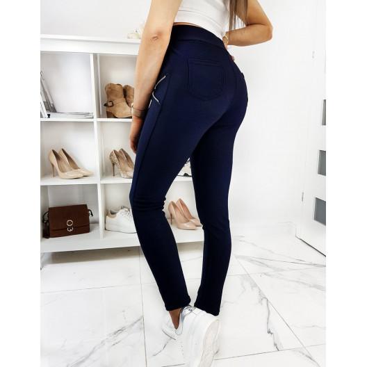Pohodlné elastické nohavice s vreckami na zips modrej farby