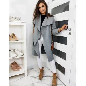 Exkluzívny dámsky jarný kabát sivej farby