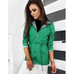 Zelená dámska prechodná bunda s kapucňou