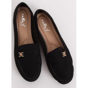 Moderné dámske mokasíny v čiernej farbe
