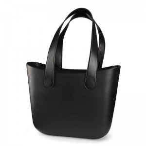 Veľká čierna gumená taška shopper bag na nákup aj pláž