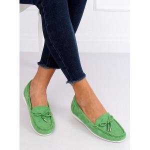 Letné dámske mokasíny v zelenej farbe