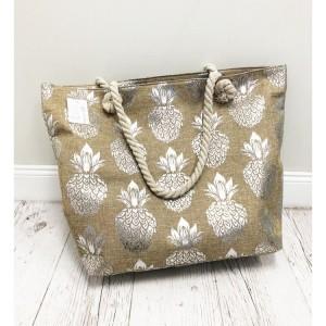 Štýlová dámska plátená taška s motívom strieborných ananásov