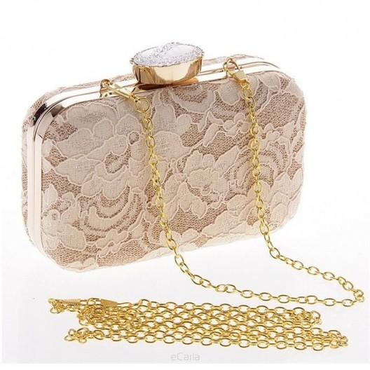Krásna dámska béžová večerná kabelka s čipkou a kryštáľom