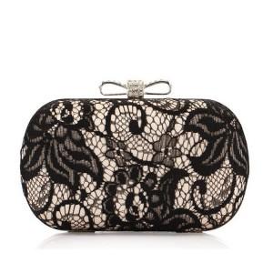 Unikátna dámska čierna spoločenská kabelka s čipkou