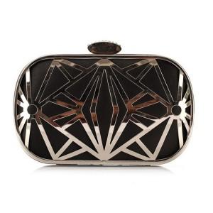 Čierná dámska kabelka s aymetrickými pruhmi a kryštáľom