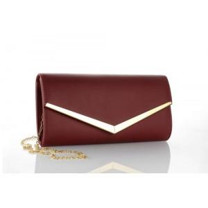 Jednofarebná dámska bordová listová kabelka
