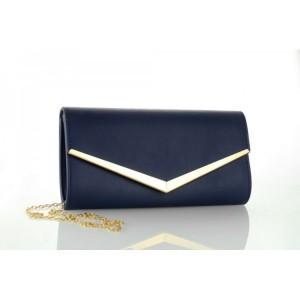 Granátovo modrá dámska listová kabelka so zlatým kovaním