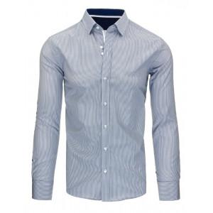 Elegatná pánska modrá pruhovaná slim fit košeľa