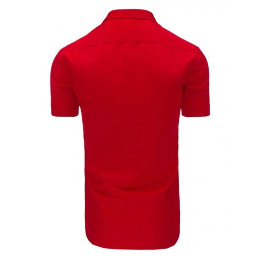 Červená pánska košeľa s krátkym rukávom