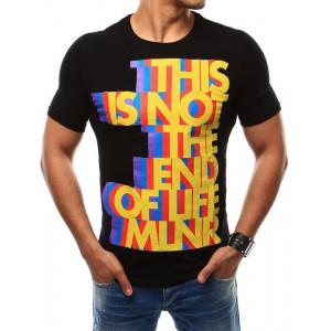 Čierne letné tričko s farebnou potlačou a okrúhlym výstrihom