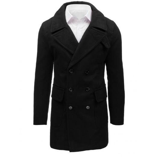 Čierny pánsky kabát rovného strihu s dvojradovým zapínaním