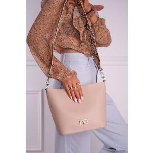 Dámska béžová shopper kabelka s rúčkou z hadej potlače