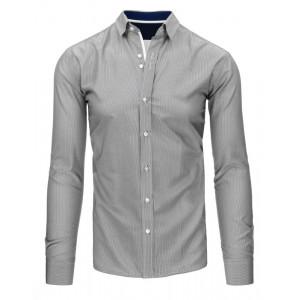 Bielo čierna pánska slim fit košeľa s jemnými pruhmi