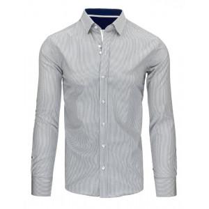 Svetlo sivá pánska slim fit košeľa s pruhmi