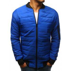 Trendy pánska prešívana modrá bunda s čiernym lemom