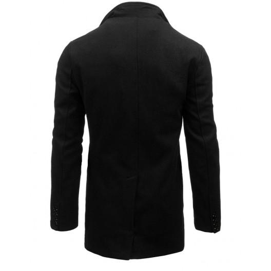 Elegantný pánsky čierny kabát rovného strihu