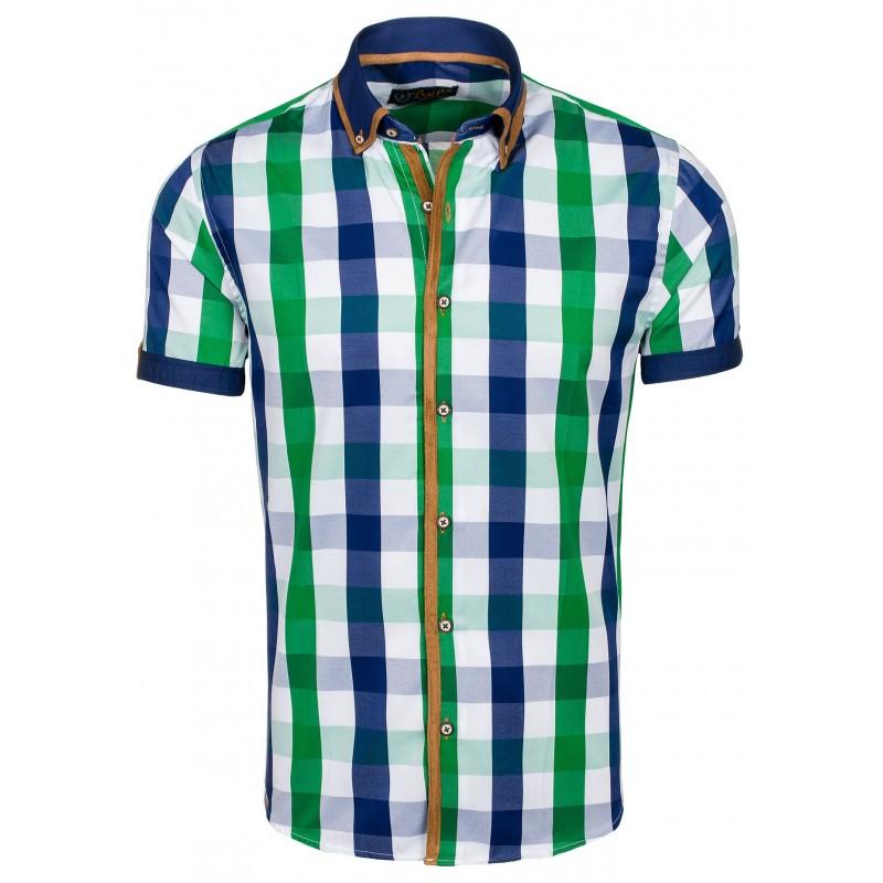 59d60c08aaf4 Pánska károvaná košeľa s krátkym rukávom zelenej farby - fashionday.eu