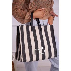 Dámska béžová shopper kabelka pruhmi a veľkým logom NOBO