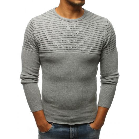 Originálny pánsky sivý sveter so vzorom