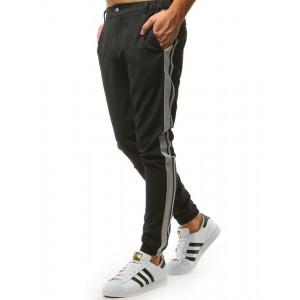 Tmavo sivé pánske letné jogger nohavice s pruhmi