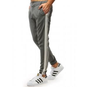 Letné pánske sivé jogger nohavice s bielymi pruhmi