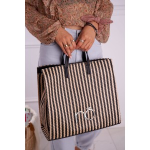 Originálna dámska čierno béžová shopper kabelka NOBO s pruhmi