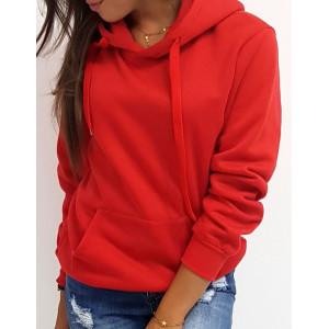 Štýlová dámska červená mikina BASIC s kapucňou