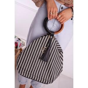 Štýlová dámska plátená shopper kabelka s dizajnovou rúčkou