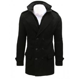 Štýlový pánsky čierny kabát s dvojradovým zapínaním