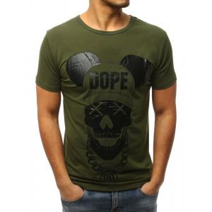 Štýlové tričko s krátkym rukávom pre pánov v zelenej farbe