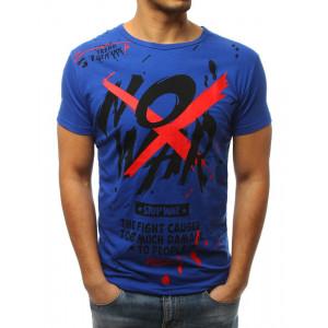 Športové pánske tričko s potlačou v modrej farbe
