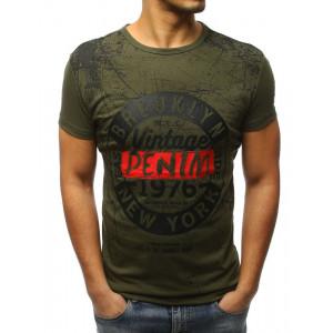 Moderné pánske zelené tričko s nápisom VINTAGE DENIM