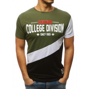 Originálne pánske zelené tričko v trojfarebnej kombinácii