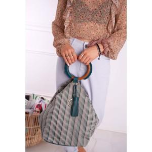 Trendy dámska zelená shopper kabelka NOBO so strapcom