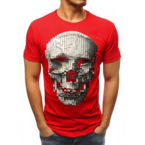 Luxusné červené tričko s motívom lebky