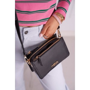 Crossbody dámska čierna kabelka s logom NOBO