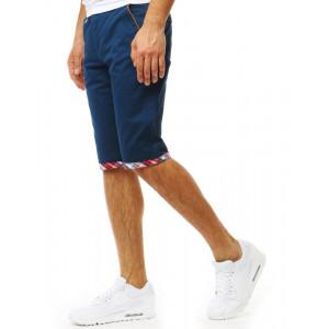 Elegantné pánske modré kraťasy s ozdobnou manžetou