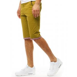 Hnedo žlté pánske kraťasy s ozdobnou manžetou