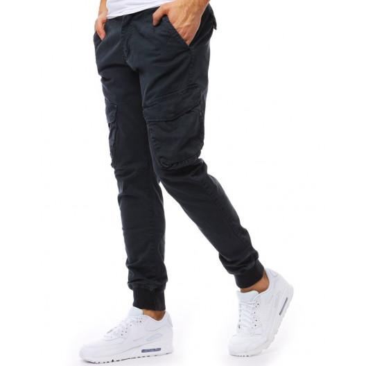 Štýlové pánske tmavo sivé jogger nohavice s vreckami
