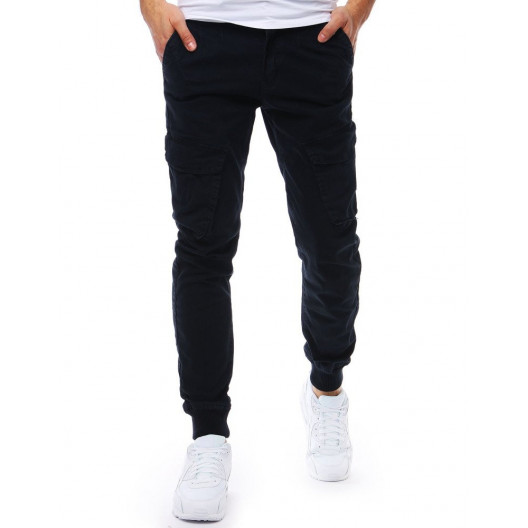 Športové pánske modré jogger nohavice s bočnými vreckami