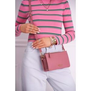 Trendy dámska praktická crossbody ružová kabelka