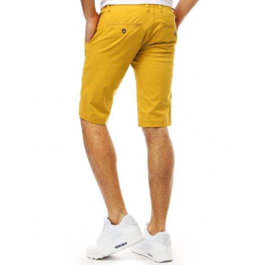 Žlté pánske jednofarebné kraťasy v pohodlnom strihu