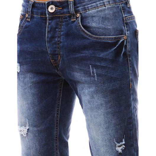 Tmavo modré džínsové kraťasy s módnymi dierami