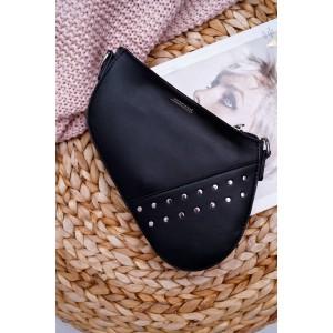 Malá čierna crossbody kabelka MONARI so strieborným kovaním